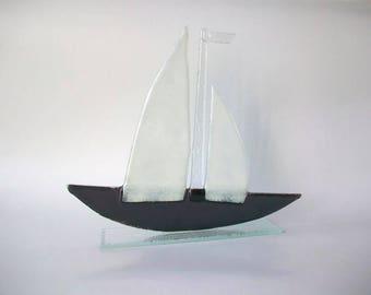 Black & White Glass Boat