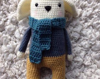 Cuddly plush Gudule dog, bear or rabbit? and his scarf