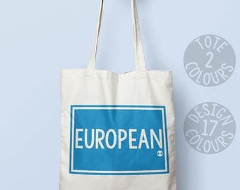 European strong tote bag, shoulder bag, personalised gift for mum, brexit gift, rally, uk and europe politics, refugees welcome