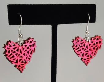 Neon Pink Geometric Wooden Heart Earrings / Laser Engraved Wood With Silver Fish Hook Earrings