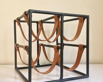 SOLD - Mid Century Leather & Wrought Iron Wine / Bottle Rack by Arthur Umanoff