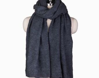 Crochet Scarf, Charcoal Crochet Scarf, Knit Scarf, Prayer Shawl, Knit Prayer Shawl, Gray Prayer Shawl,  Charcoal Grey Scarf,  Charcoal Scarf