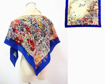 Pierre Cardin PURE SILK floral scarf.Vintage authentic flowers birds women's silk shawl.Free shipping.S169340