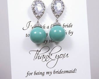 Jade Pearl Earrings, 10mm Pearl Earrings, Swarovski Pearl Earrings, Green Bridesmaid Earrings, Mint Green Earrings, Green Wedding Earrings