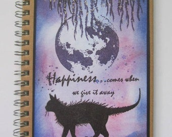 Cat notebook, Feline pocket book, Happiness cat book. Christmas present, Birthday gift, Gift for cat lover, OOAK cat design