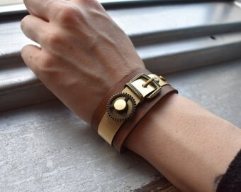 Brass Buckle on Leather band bracelet