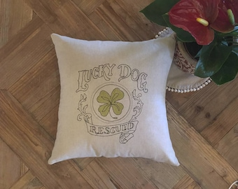 "PILLOW/Lucky dog Rescued-Embroidered Pillow ""lucky dog rescued""-greyhound"