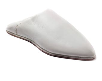 Moroccan Traditional Babouches, Slippers for Women - White -Handmade Leather,