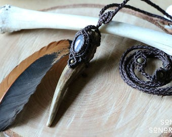 macrame deer antler rainbow moonstone necklace brown