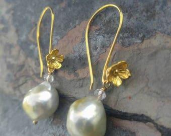 Baroque Gold South Sea Pearl Earrings