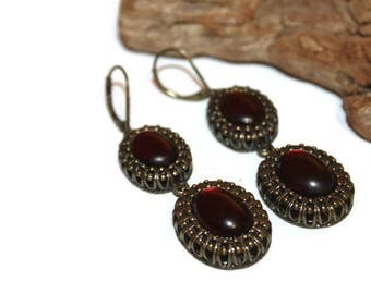 Gothic Lolita Earrings, Antique Bronze and Dark Red Earrings, Goth Earrings, Goth Jewelry, Vampire Earrings, Leverback Earrings