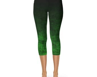Green Ombre Capri Leggings - Green Capris, Grunge Green and Black Leggings, Ombre Capris, Yoga Leggings, Yoga Pants, Capri Stretch Pants