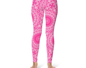 Rose Yoga Leggings - Rose Leggings, Pink and White Printed Leggings, Mandala Art Tights, Pink Stretch Pants