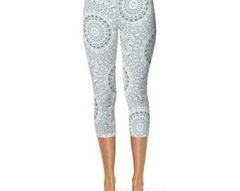 Light Blue Capri Fitness Leggings - Mid Rise Waist Aquamarine Yoga Pants Leggings