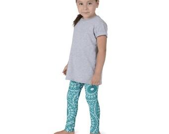 Teal Leggings for Girls, Teal and White Kids Yoga Leggings, Children's Printed Leggings