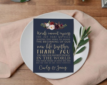 Wedding Thank You | Thank You Card | Printable Thank you | Wedding Thank You Card | Printable Table Thank You | The Lucy Suite