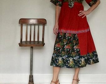 Louis Caring of London 60s maxi dress// Boho peasant floral folk hippie long baby doll bib bohemian// Vintage England// Medium 6 8 10 USA