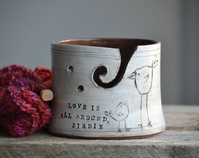 Knitting bowl with birds handmade pottery