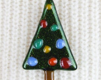 Handmade Fused Glass Christmas Tree Brooch with Baubles by Jessica Irena Smith