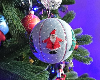 Cross stitch kimekomi ball OOAK Christmas ball ornament cross stitch Santas traditional Christmas tree unique Christmas gift country cottage