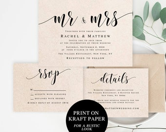Wedding invitation suite Wedding invitation set template download Editable template Mr and Mrs wedding invite Wedding invitation kit #vm31