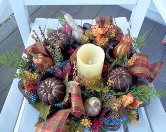 Fall Candle Ring Centerpiece Mesh Pumpkins Gourds Plaid Bow CANDLE NOT INCLUDED