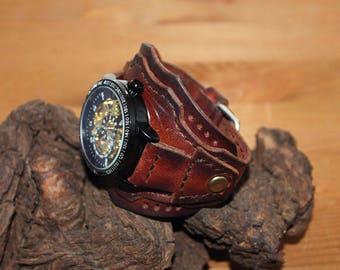 Skeleton Watch,Mens Watch,Automatic Steampunk Watch,Wrist Watch,Mens Watch Leather,Anniversary Gift,Leather watch cuff,Brown leather watch