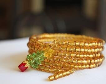 Christmas Memory Wire, Swarovski Crystal, Seed Beads