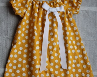 Easter Girls Dress, Yellow Spring Baby Dress, Yellow Polka Dot Girls Dress, Easter Baby Dress