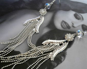 """Earrings """"ANAIS"""" rhinestone and Pearl Bohemian style Gadsby for wedding"""