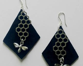 Honeycomb Silver Bee Earrings  Black Suede Leather Diamond Shape Geometric