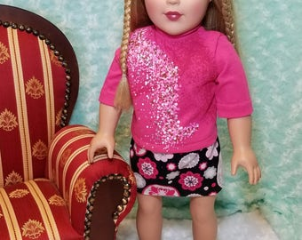Pink Turtleneck with Black Medallion Skirt Outfit - American Girl & Friends