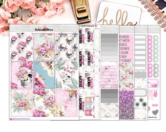 Skulls Planner Stickers / Erin Condren Vertical Weekly Stickers / Full Kit