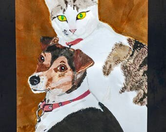 Gifts for Cat and Dog Lovers. Original custom pet portrait from photo. Cat and  Dog Memorial. Personalized Painting. Pet Cat Painting Gift.