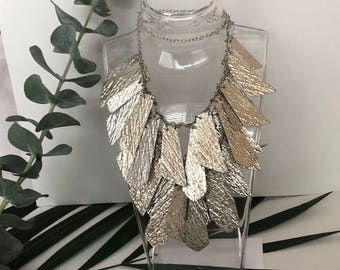1970s Necklace - 70s Necklace - Silver - Bib Necklace - Layered Necklace - Statement Necklace - Statement Jewelry - Vintage Jewellery - Gift