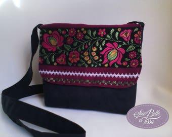 Bohemian plum and Black Suede, small Messenger bag women, fabric clutch shoulder bag