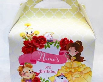 Beauty and the Beast Personalised Children's Party Box Gift Bag Favour