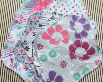 Modern Prints, Reusable Cloth Pantyliners, Panty Liners, 100% Cotton Flannel, 2 Sizes, 7-Pack, Winged