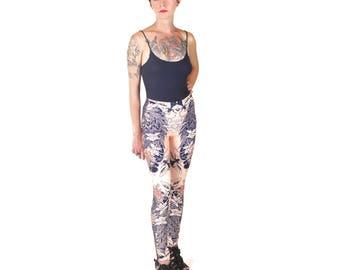 Snake + Scarab Leggings - Printed Leggings, Snake Leggings, Yoga Pants, Beetles, Scarab, Yoga Leggings, Floral Leggings, Pastel Tights