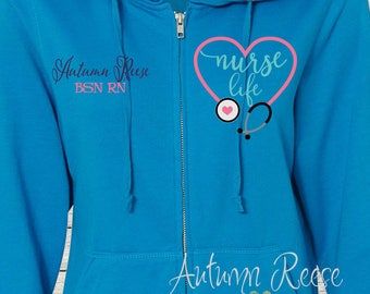 Monogrammed Ladies/Unisex Full-Zip Hooded Sweatshirt Nurse RN Nursing LPN Customized Personalized XS - 5XL Jacket