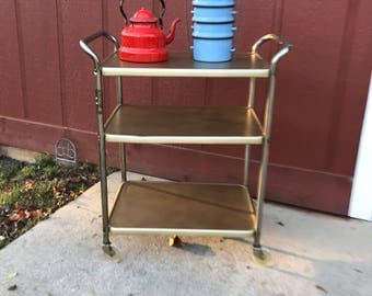 Vintage 60u0027s Gold (painted) 3 Tier Bar Utility Table Cart
