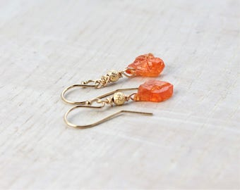 Raw Orange Garnet Earrings Raw Crystal Earrings Raw January Birthstone Gift Dainty Orange Gemstone Earrings Raw Garnet Jewelry, Gift for Her
