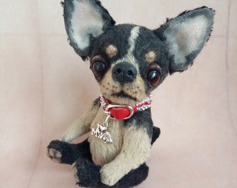 Teddy Chihuahua Artist teddy bear Dog replica Toy chihuahua Toy dog  Mini chihuahua  Black and beige chihuahua OOAK teddy Chihuahua replica