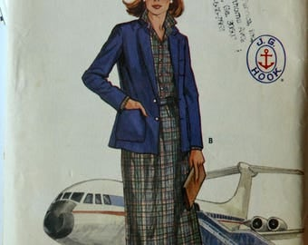 Uncut 1980s Butterick Vintage Sewing Pattern 6356, Size 10; Misses' Jacket, Skirt, and Blouse