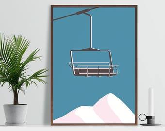 Chair Lift Skiing Art Print - A4 A3 Size - Mountain Skiing Art - Scandi Style - Modern Minimal Poster - Winter Sunset Print