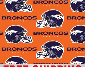 "Fleece Fabric Denver Broncos NFL Anti Pill 60"" Wide Free Shipping DEN-6715"