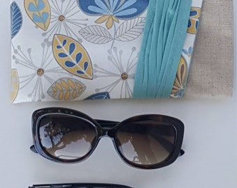 Sunglasses Case/ Reading & Sunglasses Pouch/Linen Sunglasses Case/Aqua Pleated Glasses case/Eyeglasses Protector Pouch/Bridesmaid Gift Pouch
