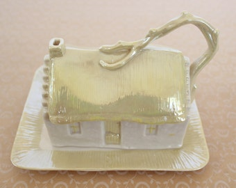 Vintage Belleek Irish Porcelain Cottage Luster Cheese/Butter Serving Dish with Green Mark