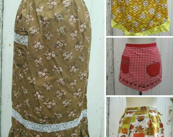 Lot of 4 Vintage Pinnies Half Aprons Novelty Print Kitchen, Apple, Floral Cotton As Is