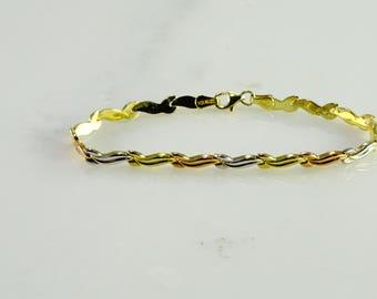 "10 KT Petite 3 Color Gold Bracelet (7"")"
